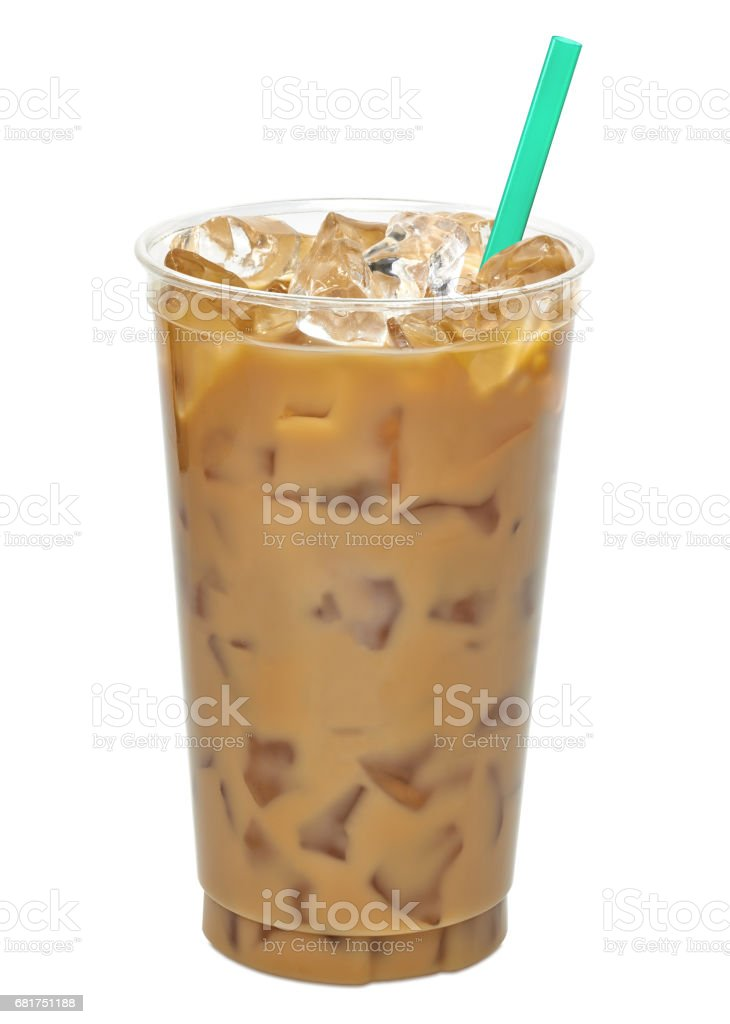 Iced coffee or caffe latte stock photo