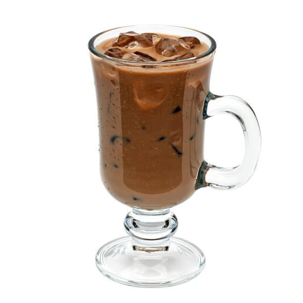 iced coffee or mocha in irish coffee glass - mocca stock-fotos und bilder