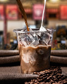 Iced Coffee, Coffee - Drink, Milk, Pouring, Preparation