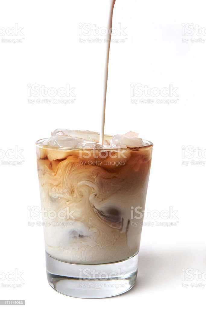 Iced Coffee with cream being poured in stock photo
