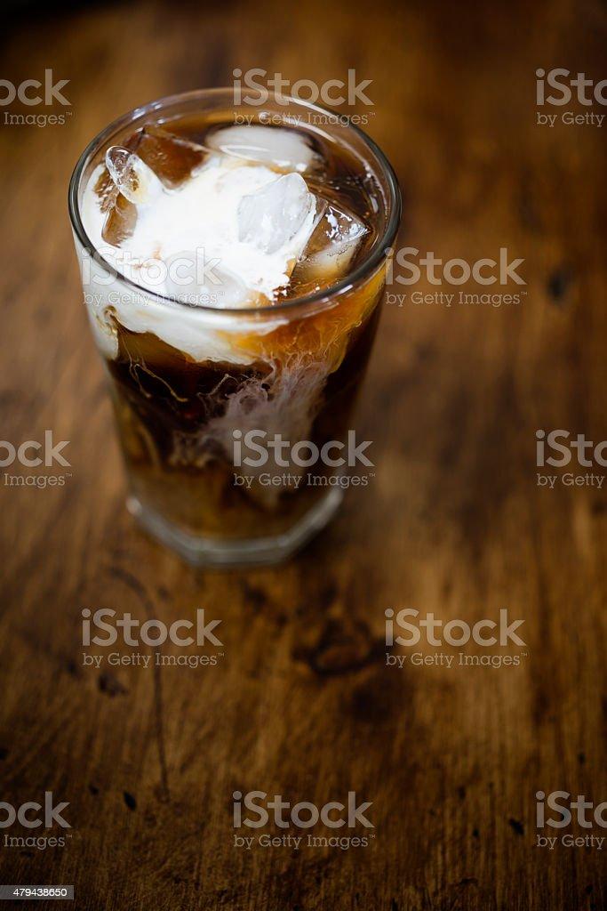 Iced Coffee with cream stock photo