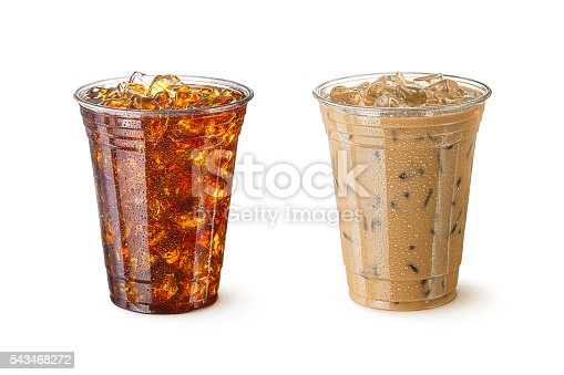 High resolution digital capture of two glasses of iced coffee, one with milk, and one without. Both coffees are in standard, restaurant-style, plastic cups that are ready for you to add your logo, and both are shot in an aspirational advertising style. Sharply focused, and isolated on a pure white background.