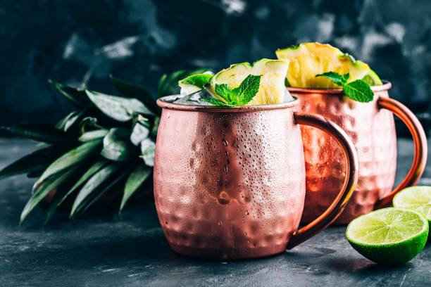 Iced Cold Moscow Mule cocktail with lime and pineapple on dark background Refreshing Iced Cold Moscow Mule cocktail with lime and pineapple on dark background mule stock pictures, royalty-free photos & images