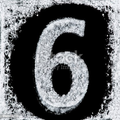 istock Iced digit / number 6 printed white ink stamp on black isolated background. Cut out. 936973710