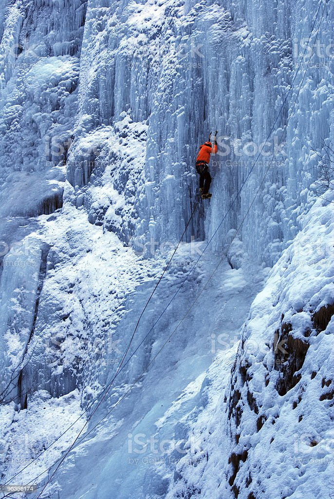 iced falls climber royalty-free stock photo