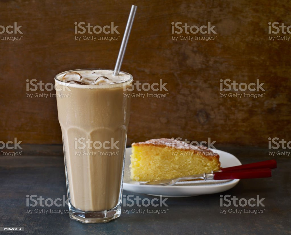 iced latte and delicious lemon cake stock photo
