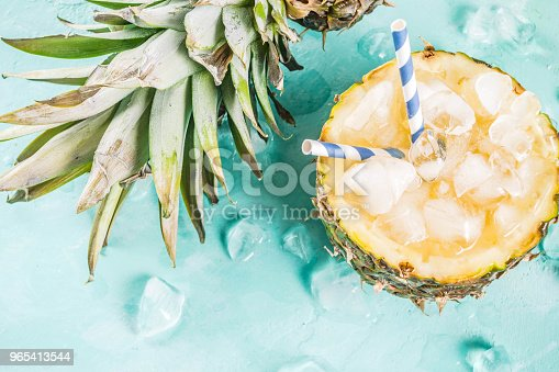 Iced Pineapple Cocktail Stock Photo & More Pictures of Beach