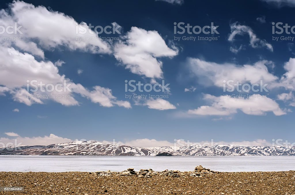 Iced sacred Lake Rakshastal in Western Tibet. stock photo