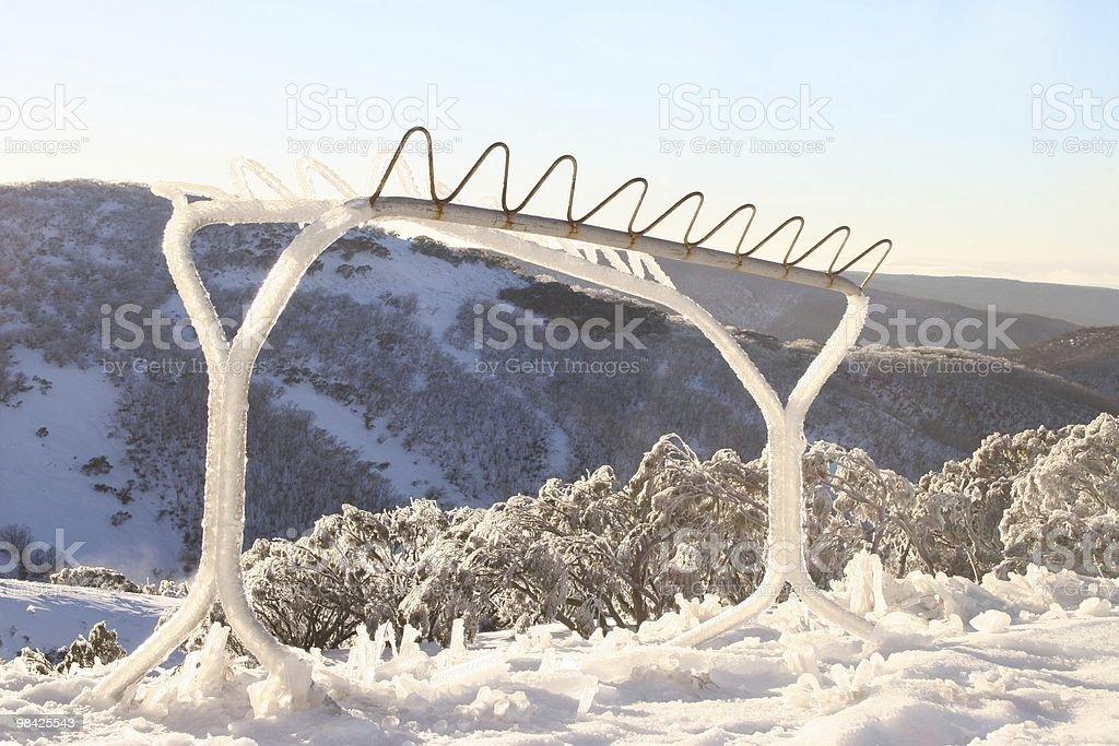 Iced Ski Rack royalty-free stock photo
