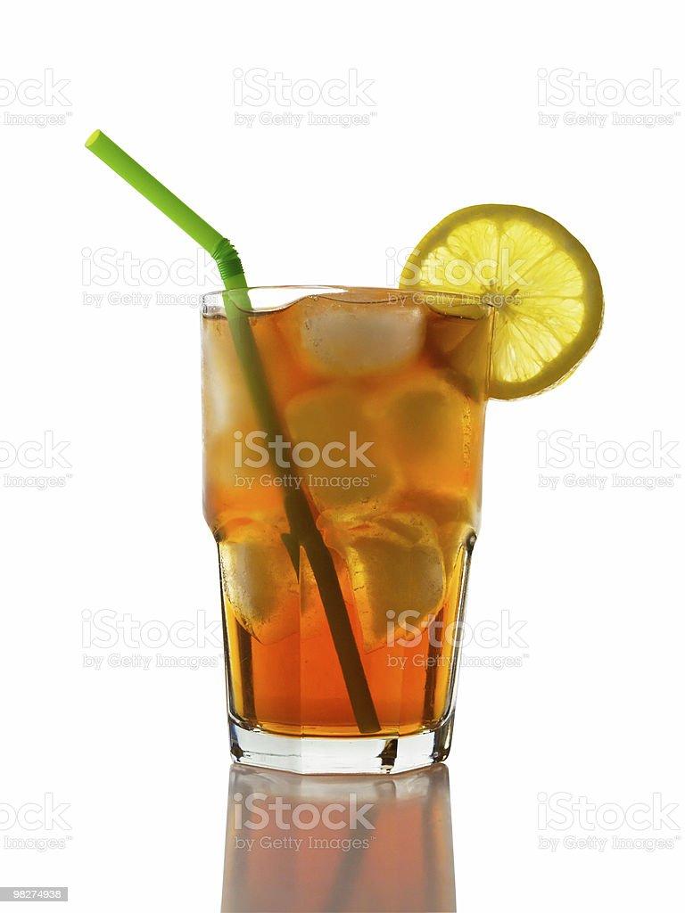 Iced Tea and Lemon, Straw royalty-free stock photo
