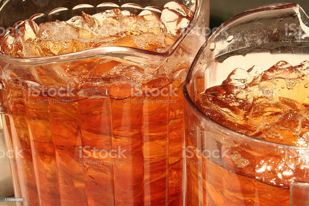 Iced Tea in Large Glass Pitchers stock photo