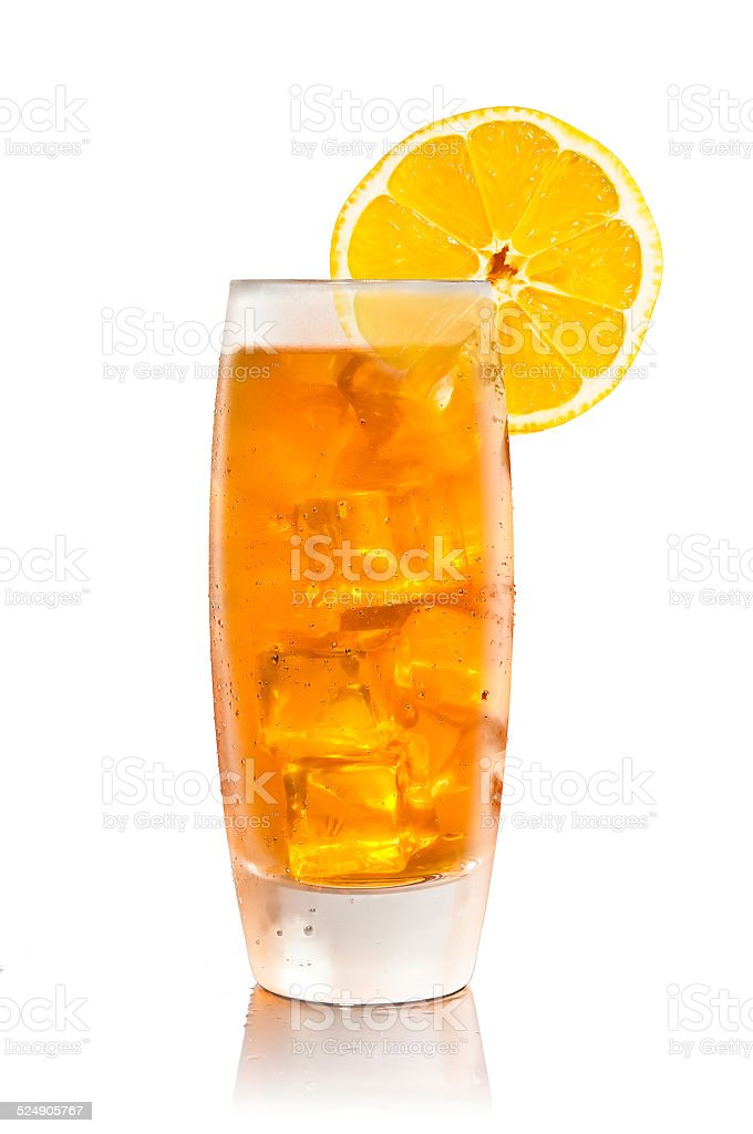 Iced Tea Isolated With Reflection stock photo