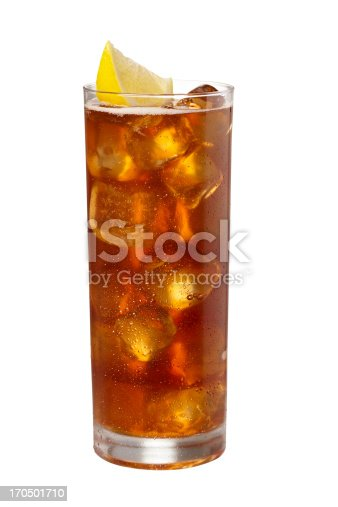 Iced Tea isolated on white background.  Droplets on glass. Larger files include clipping path. Professionally shot, color corrected, retouched, exported 16 bit and silhouetted for maximum image quality.
