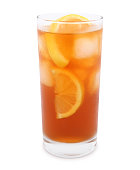 Iced tea glass with lemon slices isolated on white (excluding the shadow)