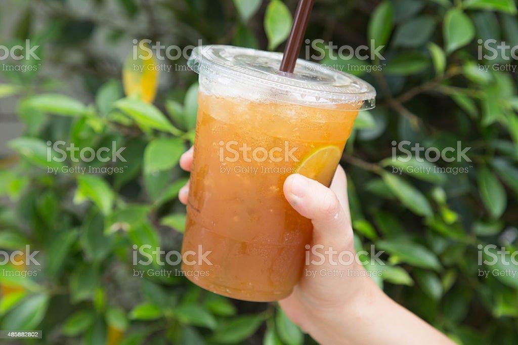 Iced Tea with Lemon stock photo