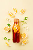 Traditional iced tea with lemon, mint and ice in tall glasses. Summer cold drink on yellow background