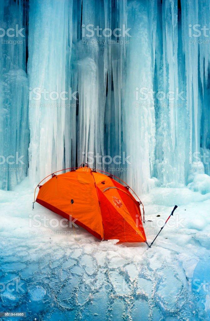icefall in the Ukrainian Carpathians stock photo