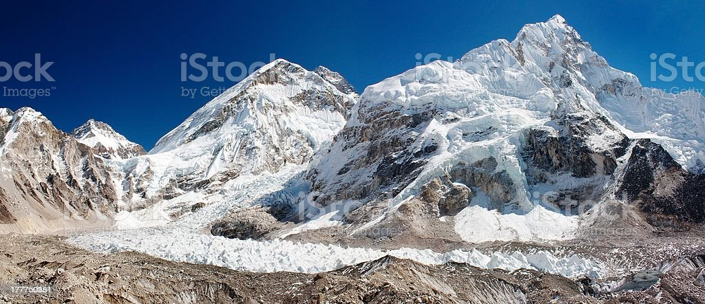 ice-fall khumbu from everest b.c. royalty-free stock photo