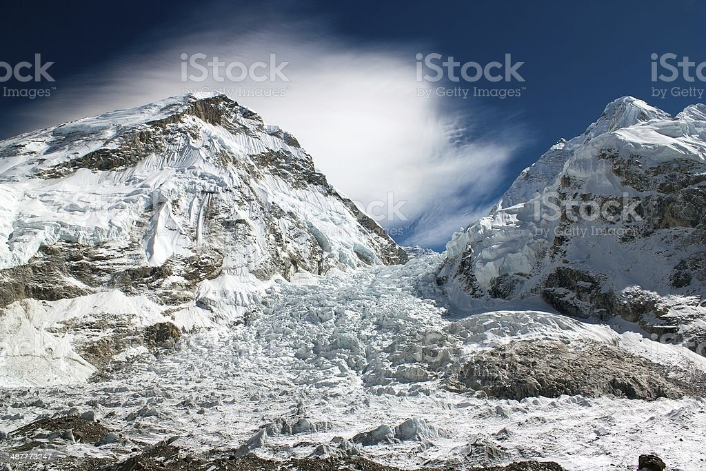 ice-fall khumbu from everest b.c. stock photo