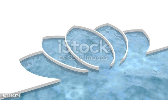 North pole arctic ocean and icefield. Ice floe on blue water with cutout lotus flower silhouette. Winter landscape digital illustration. 3D rendering