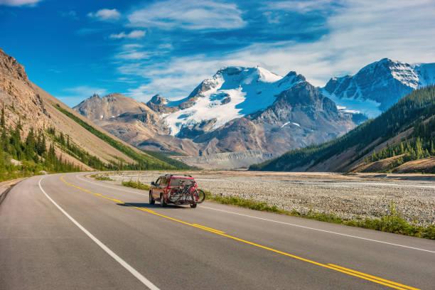 Icefields Parkway adventure Canadian Rockies Alberta Canada stock photo