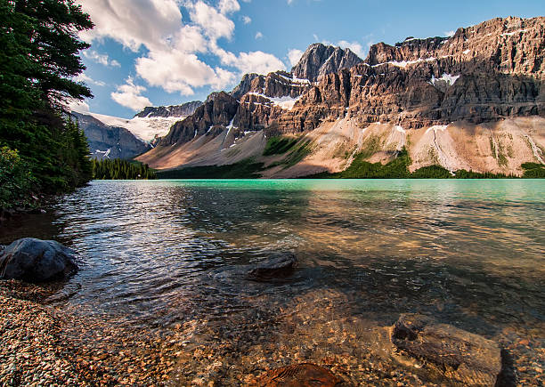 Icefields Parkway Bow Lake With Mountains stock photo