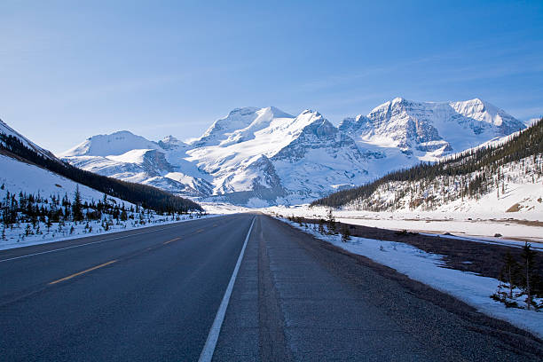 Icefields Parkway leading up to snow covered mountains stock photo