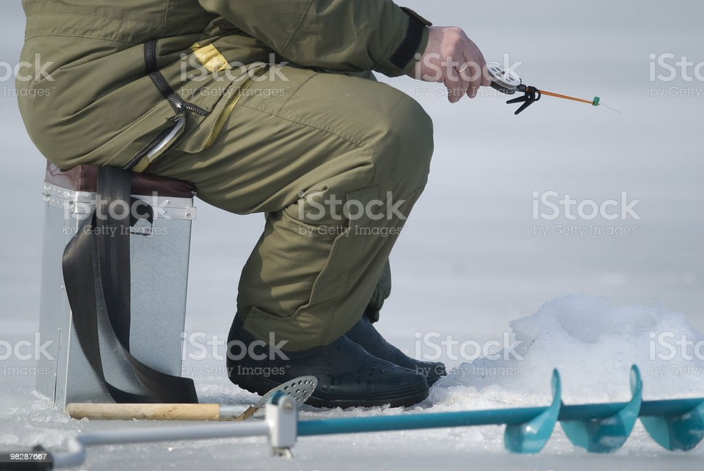 Ice-fishing royalty-free stock photo