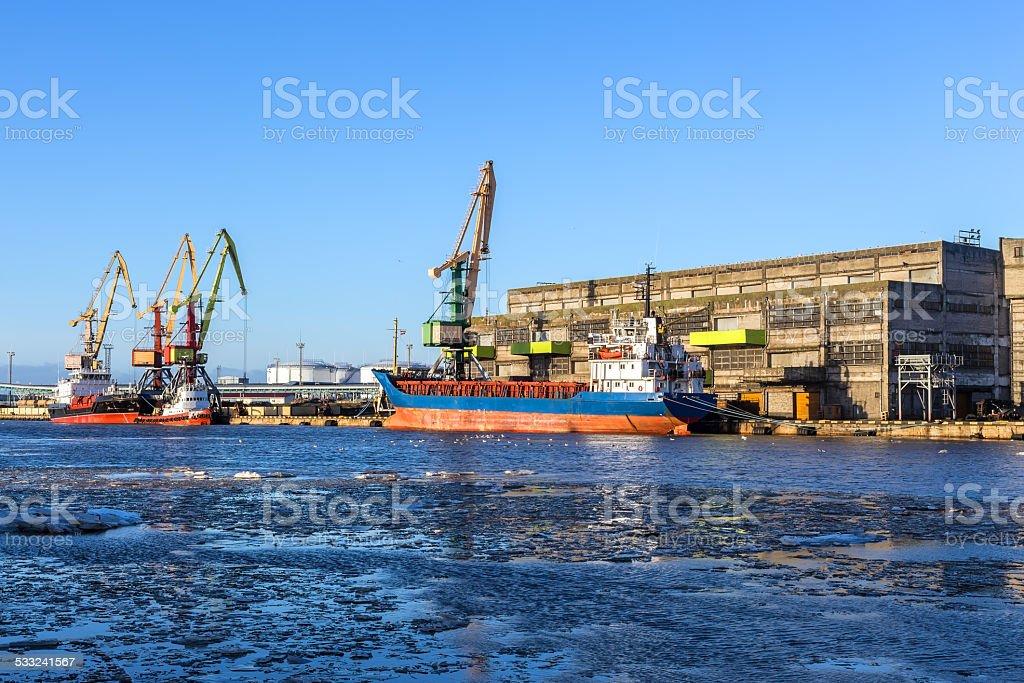 ice-free port on the Baltic Sea stock photo