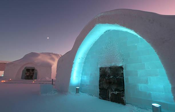 icehotel entrance with ice church - norrbotten bildbanksfoton och bilder