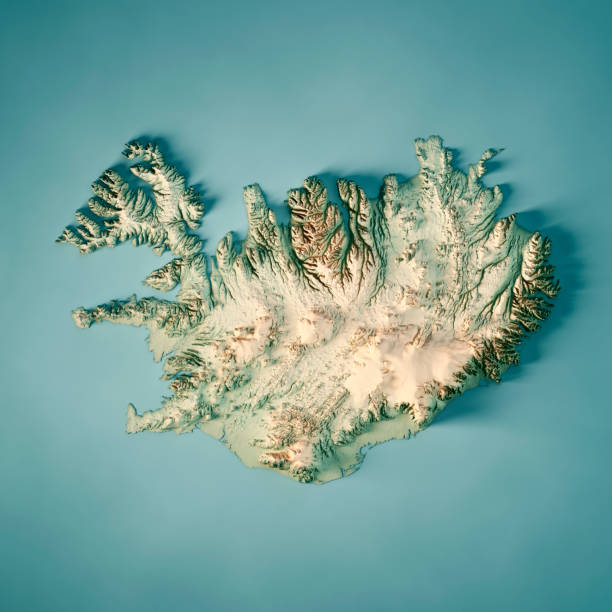 Iceland 3D Render Topographic Map Color stock photo
