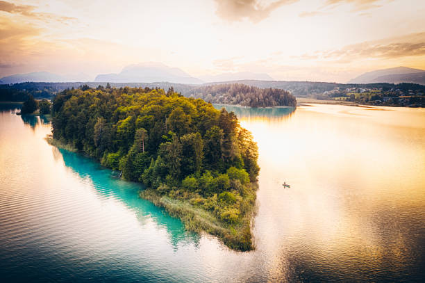 Iceland aerial shot on Faaker See lake in Carinthia, Austria stock photo