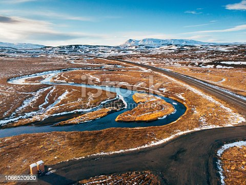 Iceland aerial view Landscape with snow and clouds