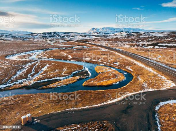 Photo of Iceland aerial view Landscape with snow and clouds