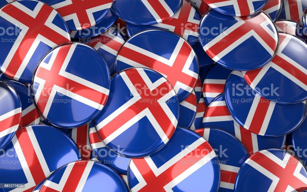 Iceland Badges Background - Pile of Icelandic Flag Buttons. royalty-free stock photo