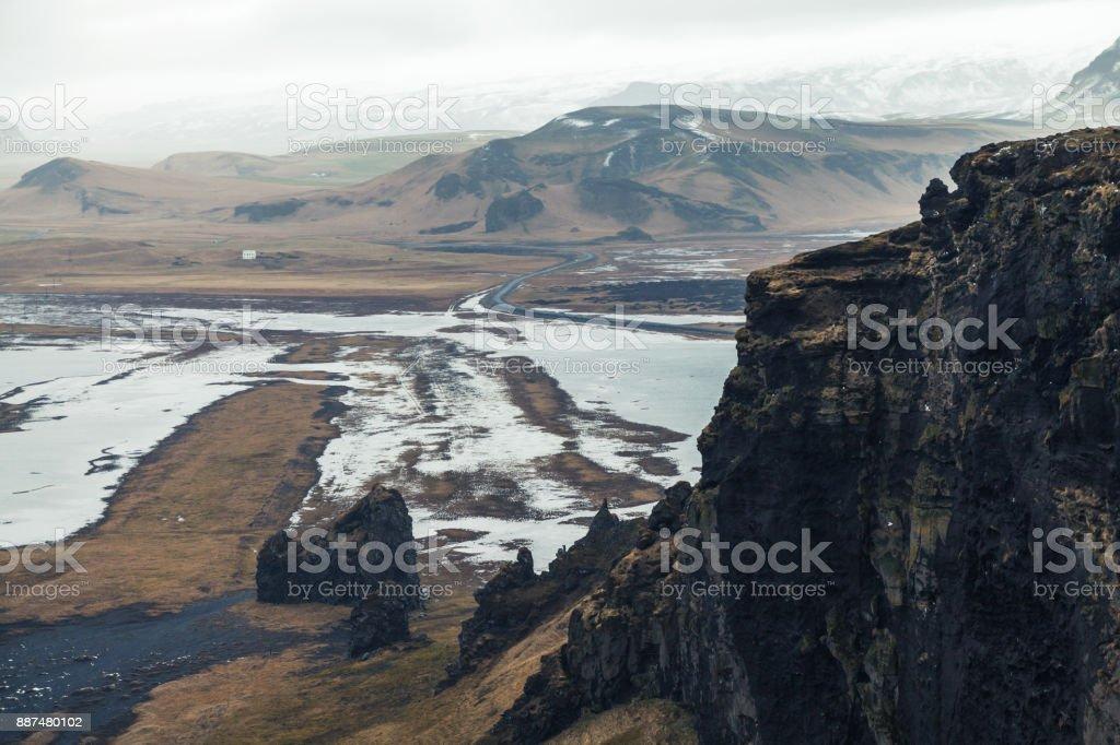 Iceland, Black sand beach landscape stock photo