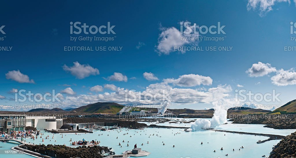 Iceland Blue Lagoon geothermal steam bathers Reykjavik stock photo