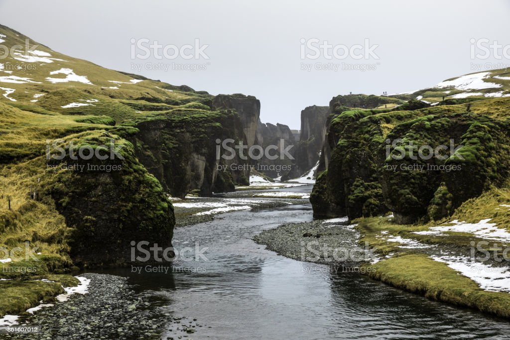 Iceland canyon - Amazing scenic natural landscape view Fjadrargljufur stock photo