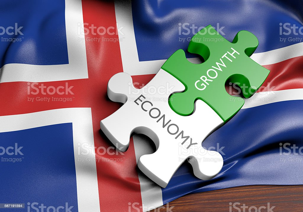 Iceland economy and financial market growth concept, 3D rendering stock photo