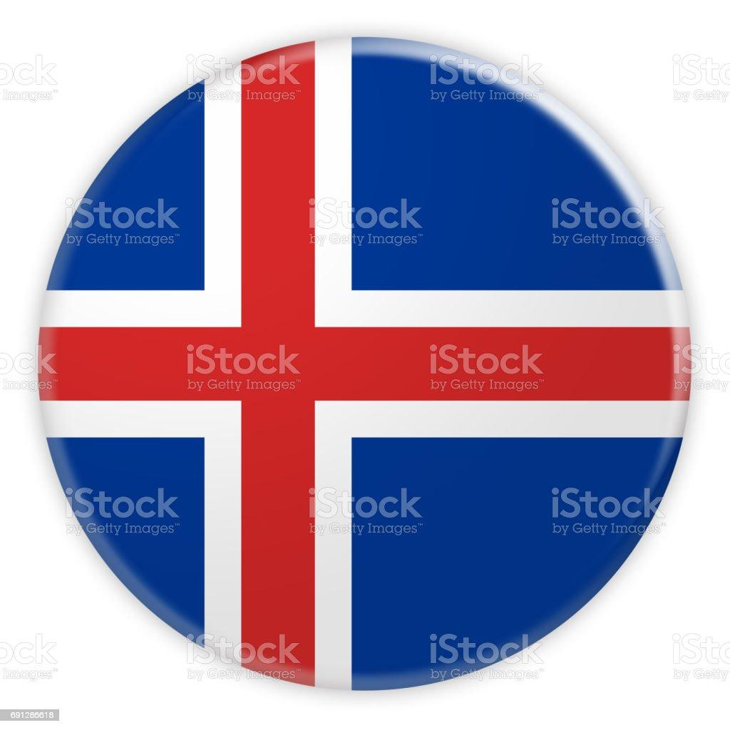 Botão de bandeira de Islândia, 3d ilustração em fundo branco - foto de acervo