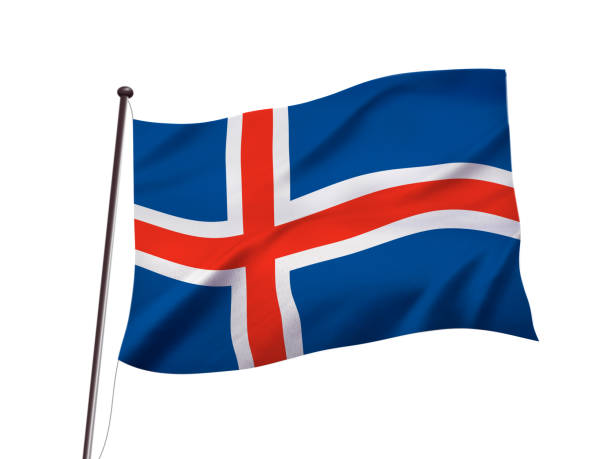 iceland flag fluttering in the wind,3D illustration stock photo