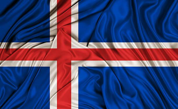 Islândia bandeira-textura de seda - foto de acervo