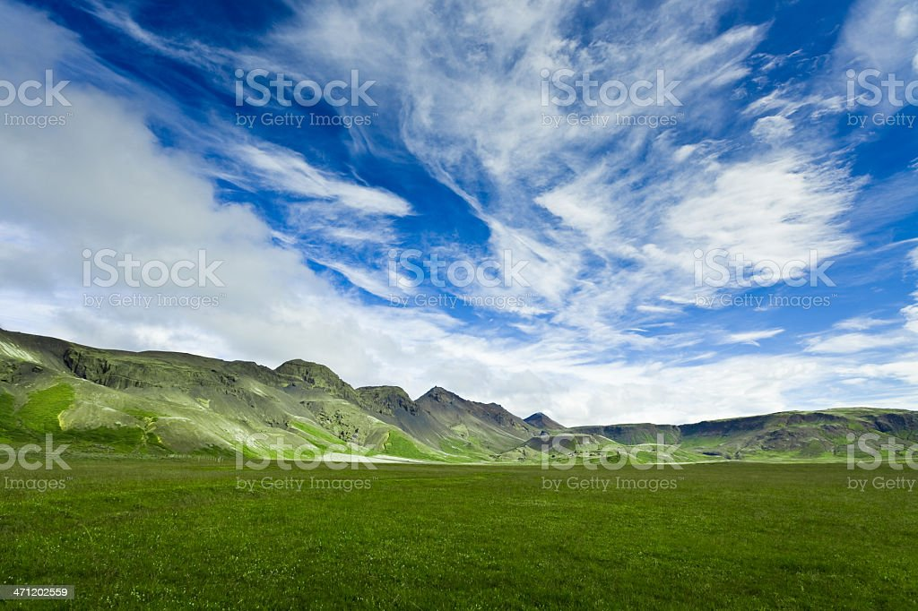 Iceland Fresh Green Landscape royalty-free stock photo