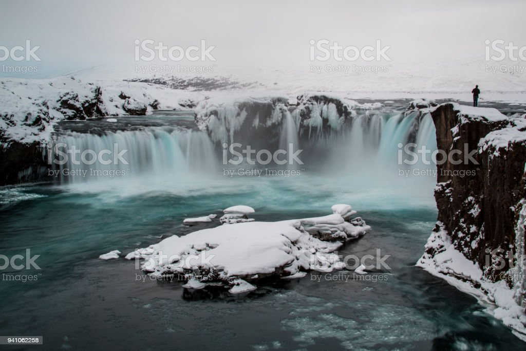 Iceland Godafoss in winter stock photo