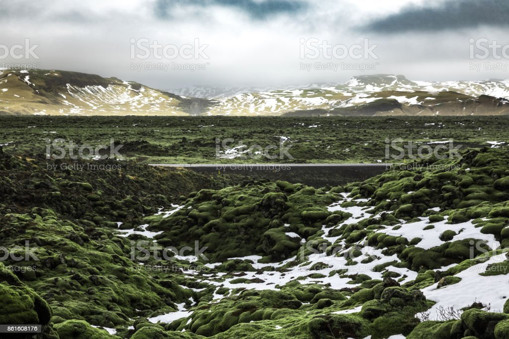 Iceland green valley stock photo