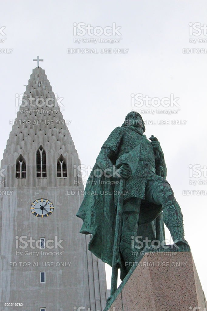 Iceland: Hallgrímskirkja and Leif Ericson Statue in Reykjavik stock photo