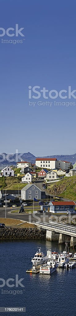 Iceland harbor homes blue sky banner Stykkishólmur royalty-free stock photo