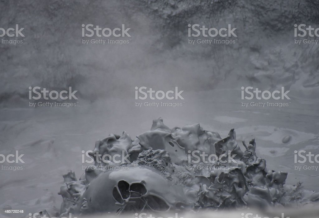 Iceland Hot Springs steaming and bubbling mud stock photo