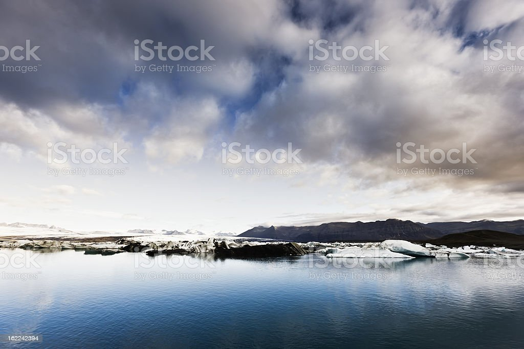 Iceland Icebergs in Jokulsarlon Dawn Scene royalty-free stock photo