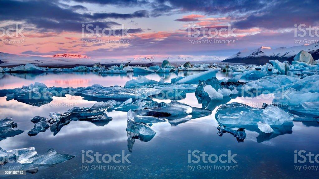 Iceland, Jokulsarlon lagoon, Beautiful cold landscape stock photo